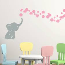 Shop Grey Elephant With Colored Bubbles Vinyl Nursery Room Wall Decal On Sale Overstock 16867625