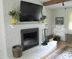 modern rustic painted brick fireplaces