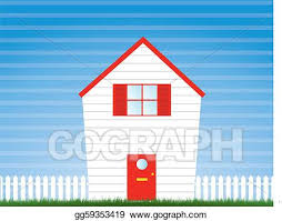Vector Art House And Garden With Picket Fence Eps Clipart Gg59353419 Gograph