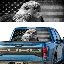 American Eagle B W Flag Banner Rear Window Perforated Decal Tint Sticker Truck
