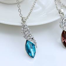 clear crystal drop pendant necklace