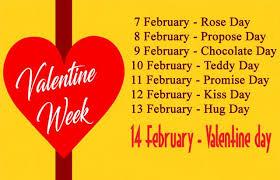 valentine week days dates list from th feb to th feb