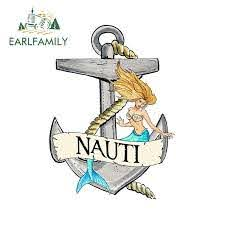 Earlfamily 13cm X 9 4cm Nauti Anchor With Mermaid Vinyl Decal Sticker Car Truck Boat Cup Cooler Car Sticker Waterproof Graphic Car Stickers Aliexpress