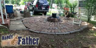 diy brick patio walkway fire pit