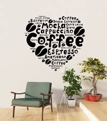 Vinyl Wall Decal Coffee House Lover Heart Beans Dining Room Idea Stick Wallstickers4you