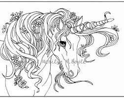 Digital Unicorn Coloring Page Or Poster Original Drawing Ink