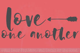 Love One Another With Arrow Wall Stickers Cursive Letters Wall Art Decals