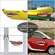 2 Pieces Durable Shark Stickers Kayak Marine Boat Canoe Raft Graphics Decals