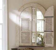 whitewash arched door mirror