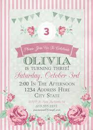 Shabby Chic Birthday Invitation Tea Party Ideas Girl S
