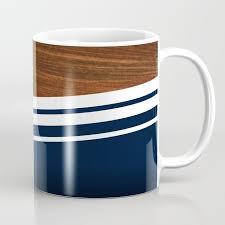 wooden navy coffee mug by