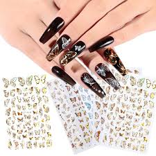 Laser Gold Silver Butterfly Nail Stickers Summer Colorful Nail Transfer Decals 3d Glitter Nail Art Decorations Nail Decal Nail Water Decals From Gold8888 0 46 Dhgate Com