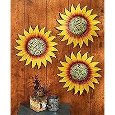 Amazon Com Set 3 Sunflowers Metal Wall Fence Art Sculpture Outdoor Garden Yard Decor Kitchen Dining