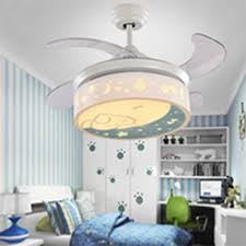 White Moon And Star Retractable Kids Room Ceiling Fan With Lovely Rabbit Beautifulhalo Com