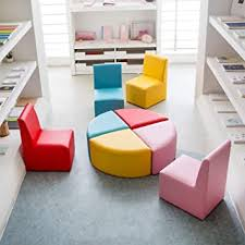 Amazon Com Kinbor Childrens Leather Chair Baby Toddler Cute Sectioal Sofa Chair Soft Preschool Playroom Seating Sofa Chair Stool Furniture Red Pink Yellow Blue 8 Piece Kids Sectional Sofa Furniture Decor
