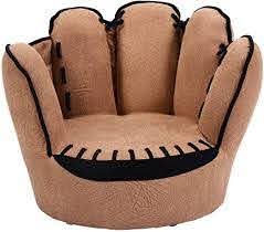 Amazon Com Costzon Children S Sofa Baseball Glove Chair For Kids Sturdy Wood Construction Toddler Armchair Living Room Seat Children Furniture Upholstered Tv Chair Brown Kitchen Dining