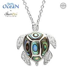 silver abalone turtle pendant adorned