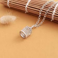 silver 3d birdcage pendant necklace