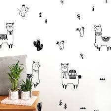 Alpaca And Cactus Wall Decals Cozy Nursery