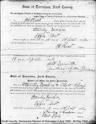 Scott Co, TN Marriages 1901-1910