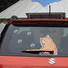 Amazon Com Bemost Auto Accessories Car Styling Cartoon Funny Cat Moving Tail Animal Stickers Car Rear Window Wiper Decals Stickers Automotive
