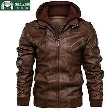 leather jacket men windbreaker hooded