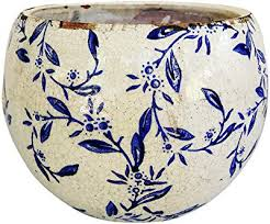 old world hand pressed ceramic blue and