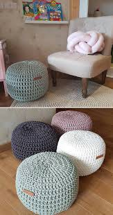 Crochet Pouf Ottoman For A Cozy Living Room Or Kids Room Poufs Are Great To Use As Floor Pillows As Footstool Kid Room Decor Floor Pillows Diy Crochet Pillow