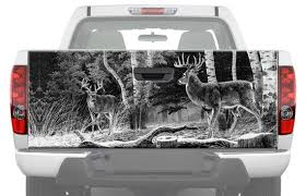 Deer In Forest Black White Tailgate Graphic Decal Sticker Etsy
