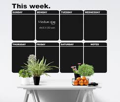 Large Weekly Chalkboard Calendar Wall Decal Dry Erase Etsy