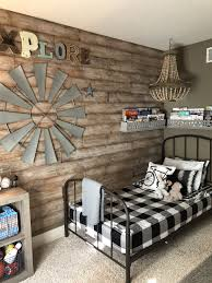 Farmhouse Style Kid S Room Wood Accent Wall Metal Bed Beddy S Gingham Bedding Beaded Chandelier Rustic Boys Room Kids Bedroom Rustic Farm House Living Room