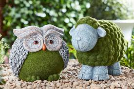 owl or sheep garden ornaments