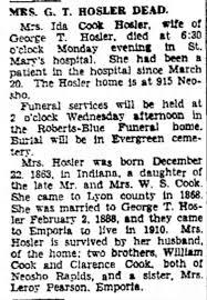 Ida Cook Hosler - Dies - Newspapers.com