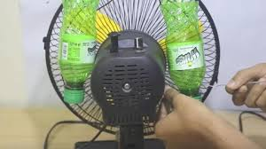 plastic bottles turn a fan into an air