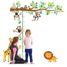 Chart Height Measurement Growth Chart Tree Monkeys And Animals Nursery Wall Decals Stickers Wall Decal Decor Sti Nursery Wall Decals Animal Nursery Tree Monkey