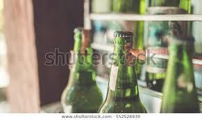 retro green glass bottles vintage style
