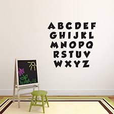 Amazon Com Set Of 26 Vinyl Wall Art Decal Alphabet Letters 3 X 3 Each Letter Cute Personalize Your Laptop Coffee Mug Luggage Notebook Work Office Party Classroom Decor Arts