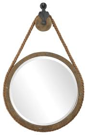 round rope pulley pendant wall mirror