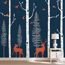 Amazon Com Simple Shapes Birch Tree Wall Decal With Birds And Deer W1121 Scheme A 96 243 Cm Tall Trees By Home Kitchen