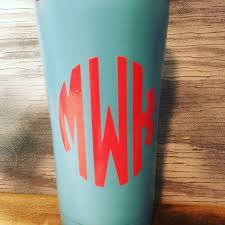 Monogram Decal Tumbler Decals Vinyl Decal Stickers Etsy