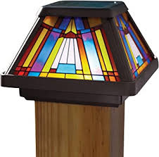 Moonrays Post Cap Lamp In Stained Glass Design 6x Brighter Solar Powered Led Outdoor Post Lights Amazon Com