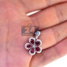 ruby flower halo pendant 14k white gold