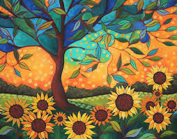 Sunflower Sunset Painting by Peggy Davis | Saatchi Art