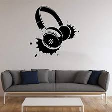 Amazon Com Wall Decor Headphones Vinyl Decal Earphones Wall Sticker Music Stickers Wall Vinyl Decor Home Kitchen