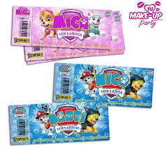 Invitaciones Tarjetas Disney Ticket Infantiles Personalizada