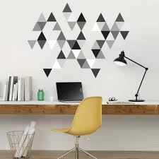 45 Mod Triangle Wall Decals In Gray Black And White Eco Friendly Rep