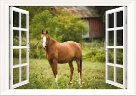 Horse Paddock 3d Window Wall Art Sticker Decal Mural Wallpaper Size A3 Mural Wallpaper Grey Horse Wallpaper Wallpaper Size