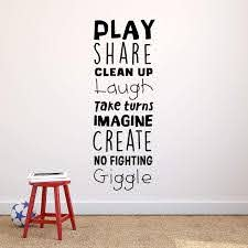 Amazon Com Vinyl Art Wall Decal Play Share Clean Up Laugh Take Turns Imagine No Fighting Giggle 45 5 X 16 5 Cute Modern Decals For Kids Toddlers Home Bedroom Playroom Apartment