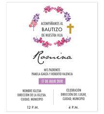 Invitacion Bautizo Flores Invitaciones Bautizo