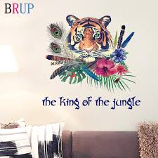 Creative Tiger Wall Stickers Colorful Feather Home Decor Art Pvc Vinyl Wallpaper Animals Wall Decals Beautiful Flower Decoration Wall Stickers Aliexpress